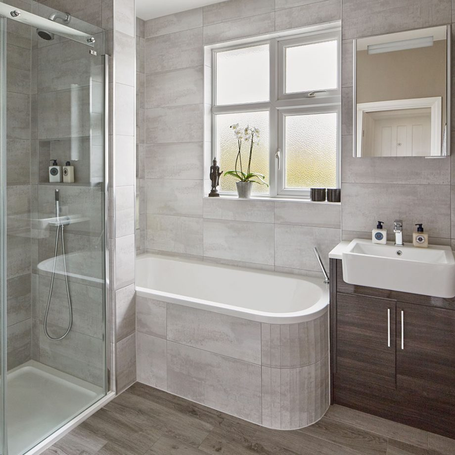Modern Grey Bathroom Makeover With Separate Shower And Bath Small Bathroom With Bath Shower Cubicles Bathroom Design Small