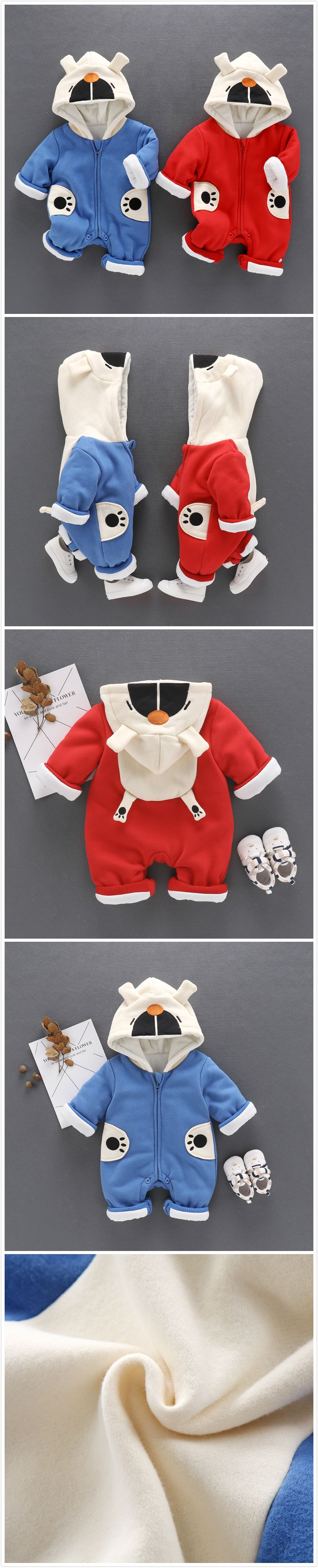 2 Color Cartoon Bear Thicker Baby Uni Winter Warm Hooded Jumpsuit