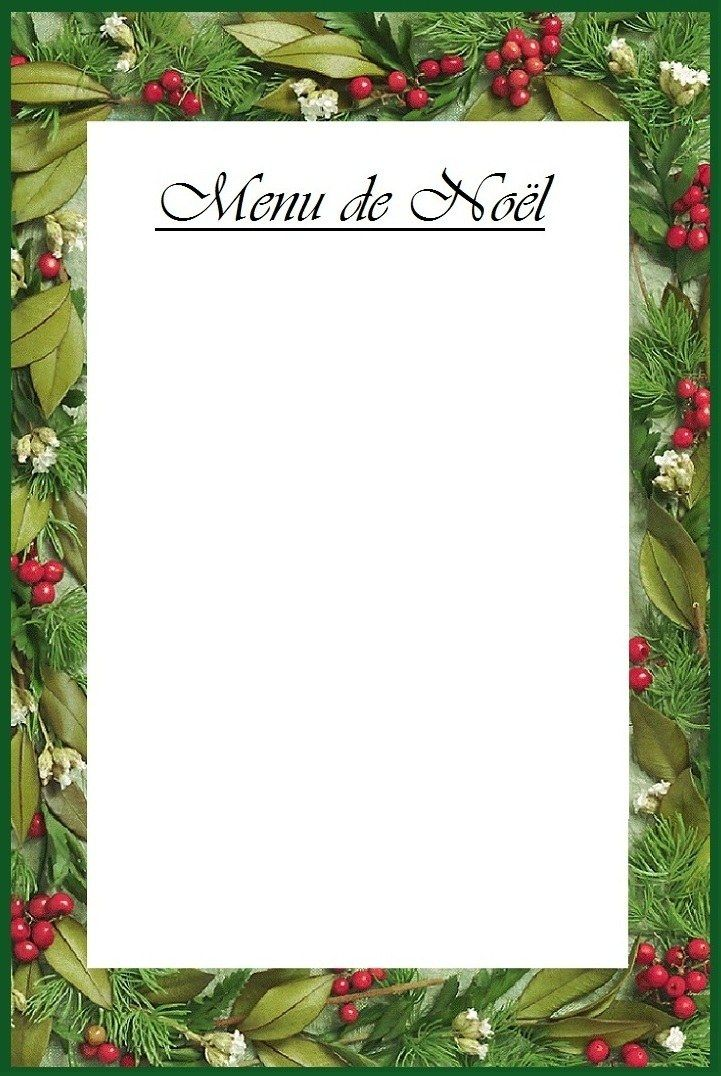 Jolie Carte Pour Imprimer Le Menu De Noël Traditionnel