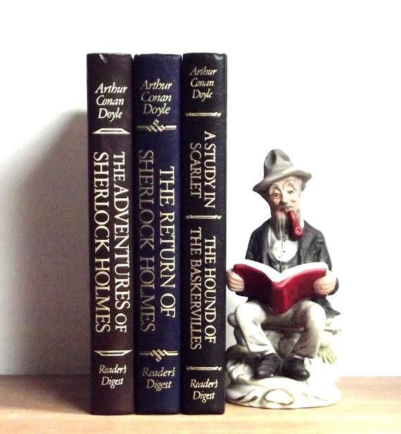 Sherlock Holmes, Sir Arthur Conan Doyle classic mysteries, decorative books, vintage book decor, old books, Readers Digest Collection