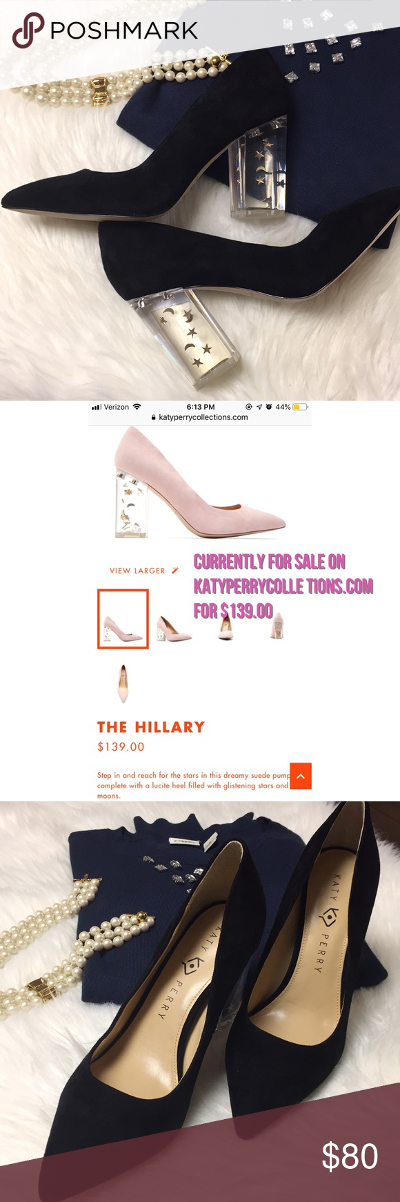 36de5417ac5 Katy Perry The Hillary Heels THE HILLARY  139.00 Step in and reach for the  stars in this dreamy suede pump complete with a lucite heel filled with ...