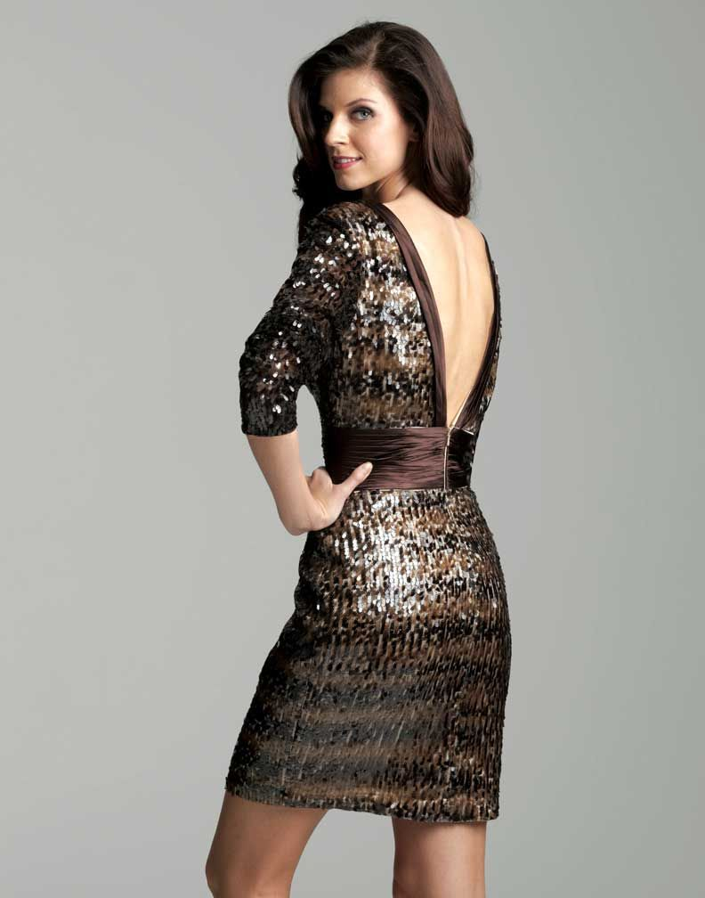 Long Sleeve Chocolate Cocktail Dress 2046 | Sequin shorts, Chocolate ...