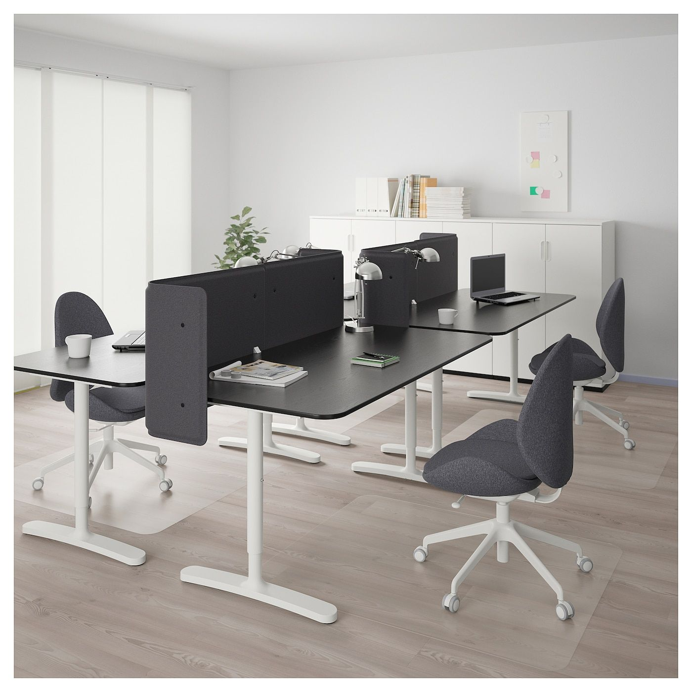 Bekant Desk With Screen Black Stained Ash Veneer White Ikea Black Office Furniture Office Furniture Design Ikea Bekant Desk