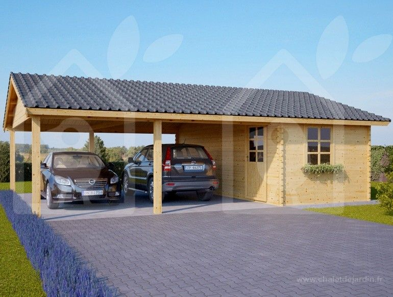 Carport Double Et Abri 600x750 44mm 45m Garage Pour Voiture Abri Garage Carport Bois