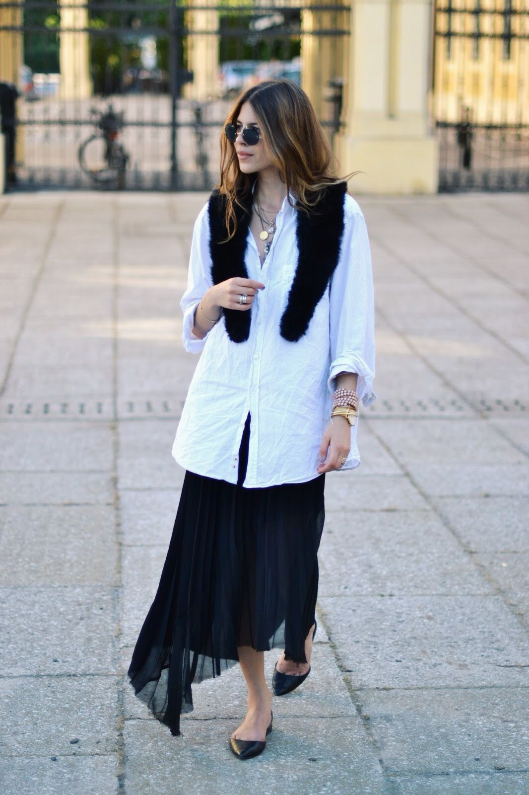 great skirt & white shirt. stolen moments with #MajaWyh. Copenhagen.