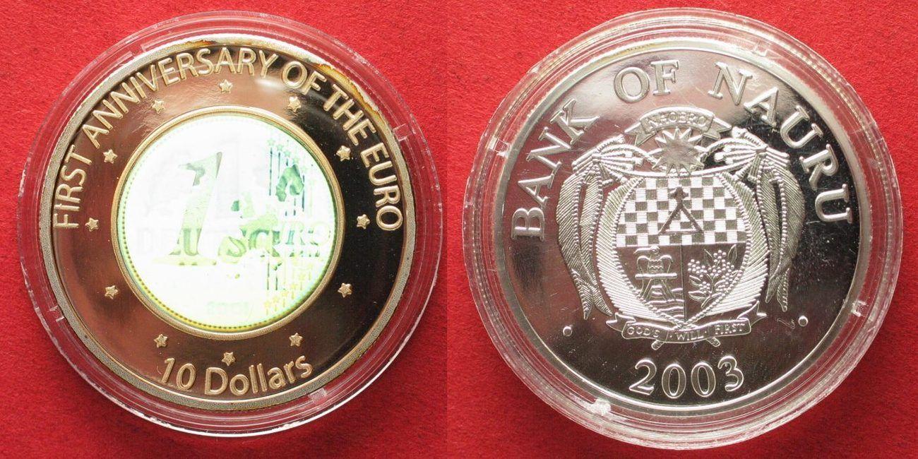 2003 Nauru NAURU 10 Dollars 2003 GERMAN MARK & EURO hologramm silver 1 oz Proof # 94804 Proof
