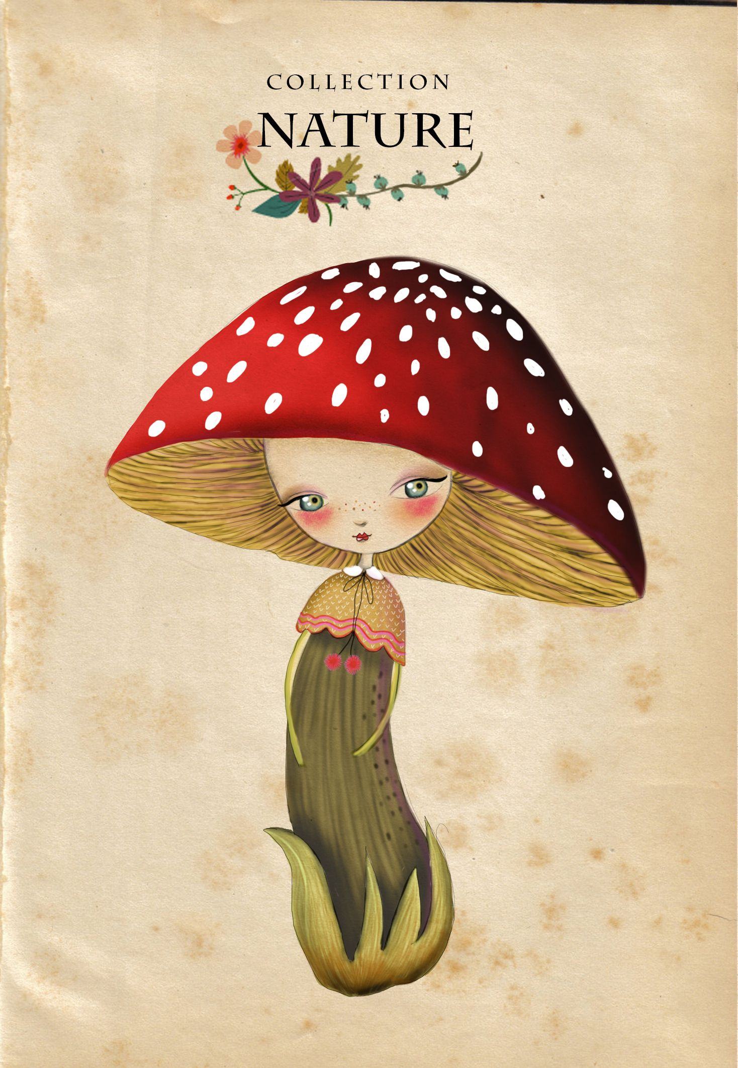 Adorable Little Mushroom Girl Illustration Magical