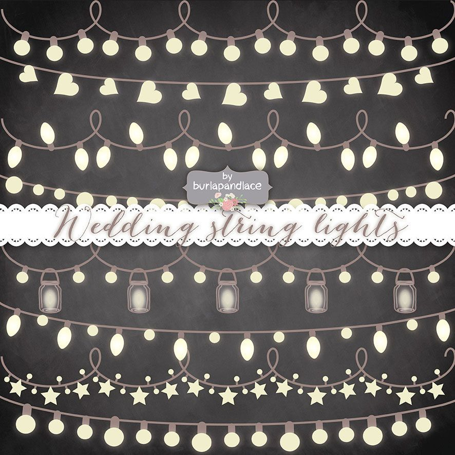 String Lights Clipart No Background : VECTOR Rustic String Lights Clipart, wedding invitation, Clipart lights, Wedding, Fairy Lights ...