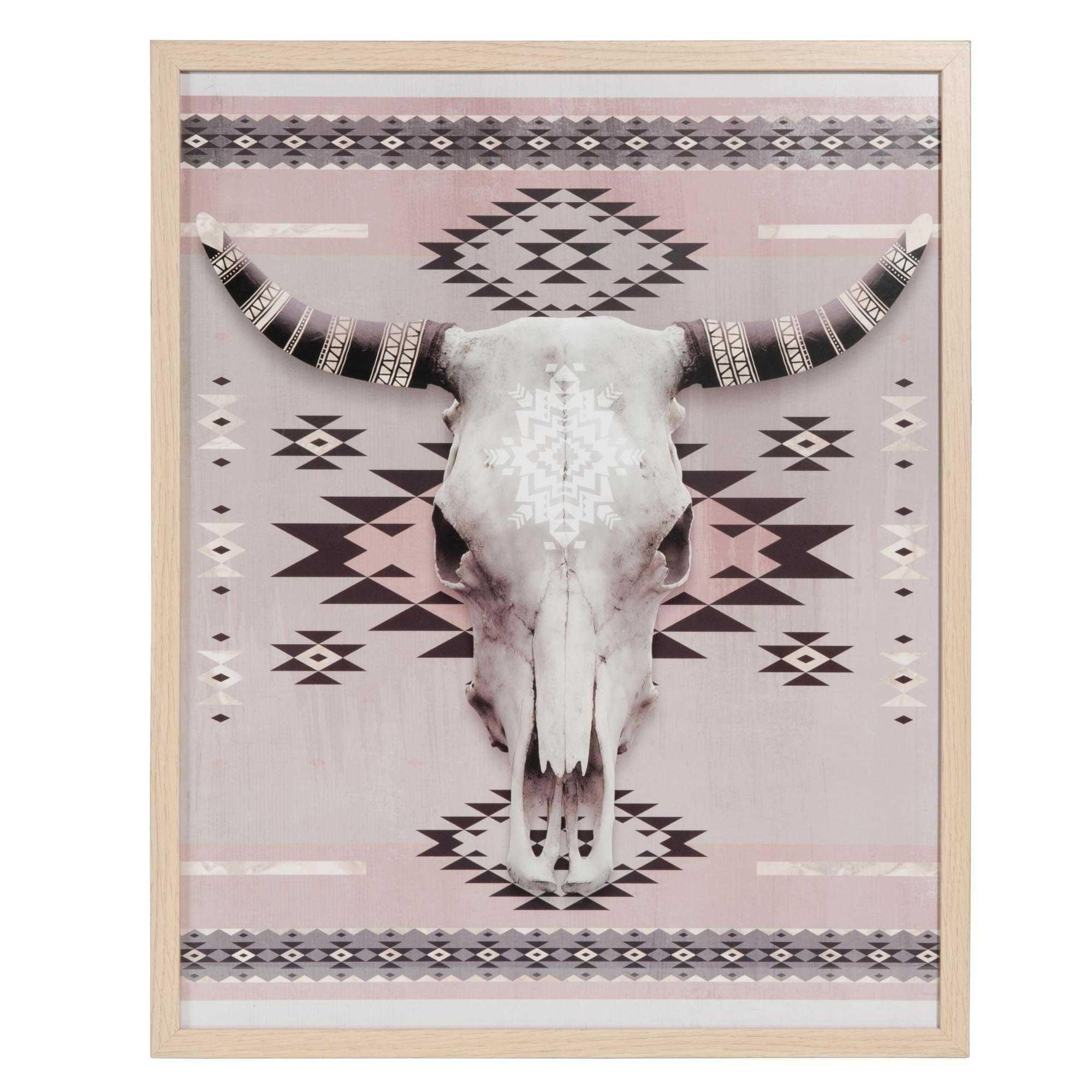 tableau t te de buffle motifs ethniques 40x50cm white. Black Bedroom Furniture Sets. Home Design Ideas