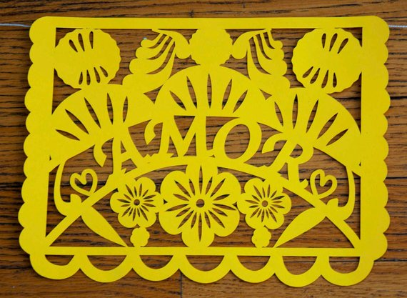Amor Papel Picado Banner, Love Banner Valentine's Wedding Engagement Party Decoration