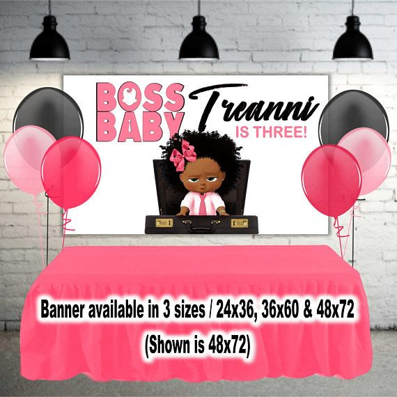 Boss Baby Girl African American Banner Backdrop Pink And