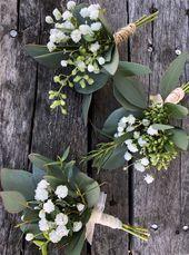 Frisches Grün und Babys Atem Boutineere, Hochzeit Boutineer, Landhochzeit, frischer Eukalyptus, DIY-Hochzeit, Scheunenhochzeit, Bräutigam, gesät –