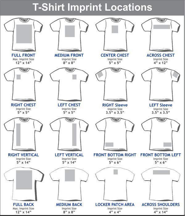 Image result for design size on front and back of shirts for T shirt printing local area