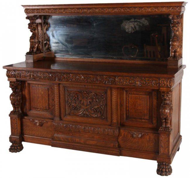 attr r j horner carved oak winged griffin sideboard