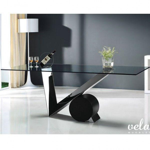 Mesa para comedor moderna patas en acero inoxidable con for Mesas de cristal y madera para comedor