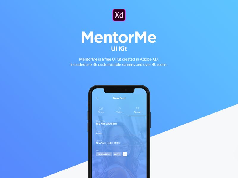 Download free UI design MentorMe UI Kit for Adobe XD | UI
