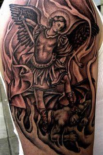 archangel michael defeating lucifer tattoo design pinterest archangel michael tattoo. Black Bedroom Furniture Sets. Home Design Ideas