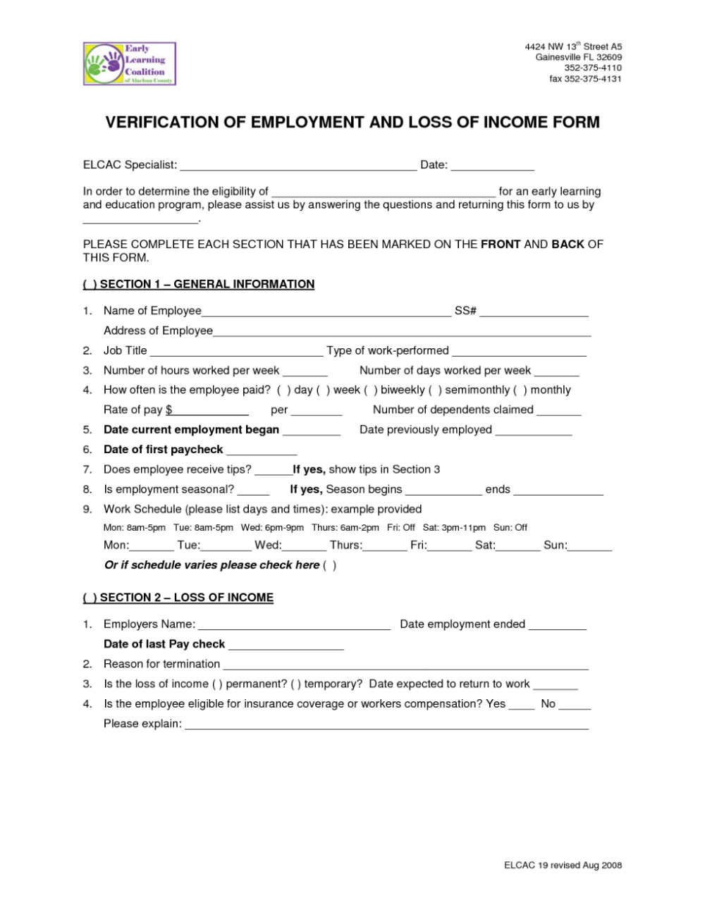 Loss Of Income Form Florida In Verification Of Employment Loss Of Income Form Income Employment Employment Form