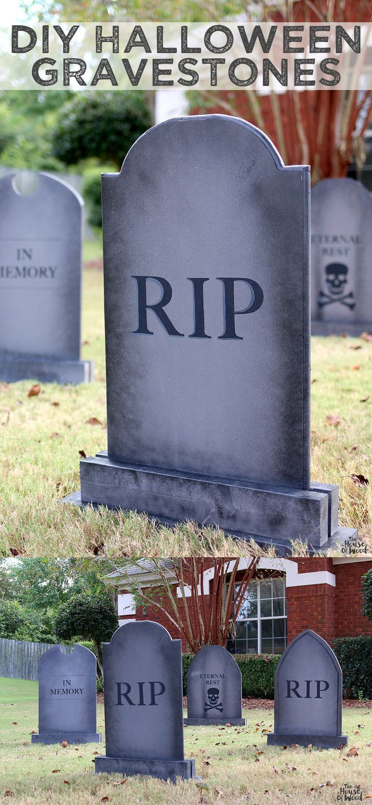 DIY Halloween Lawn Gravestones Halloween lawn, Ryobi tools and DIY - Halloween House Decorating Ideas Outside