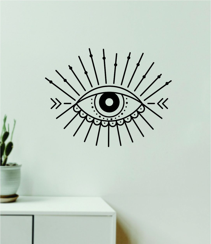 Eye Design Decal Sticker Wall Vinyl Art Wall Bedroom Room Home Decor Teen Inspirational Girls Yoga Zen Meditate Namaste Tattoo Boho All Seeing - olympic blue
