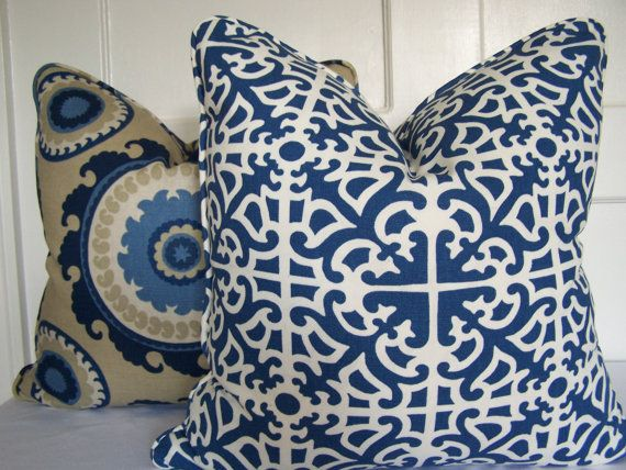Decorative Pillows Waverly Parterre Porcelain Designer Pillow Cover With Piping Accent Pillow Throw Pillow 18x18
