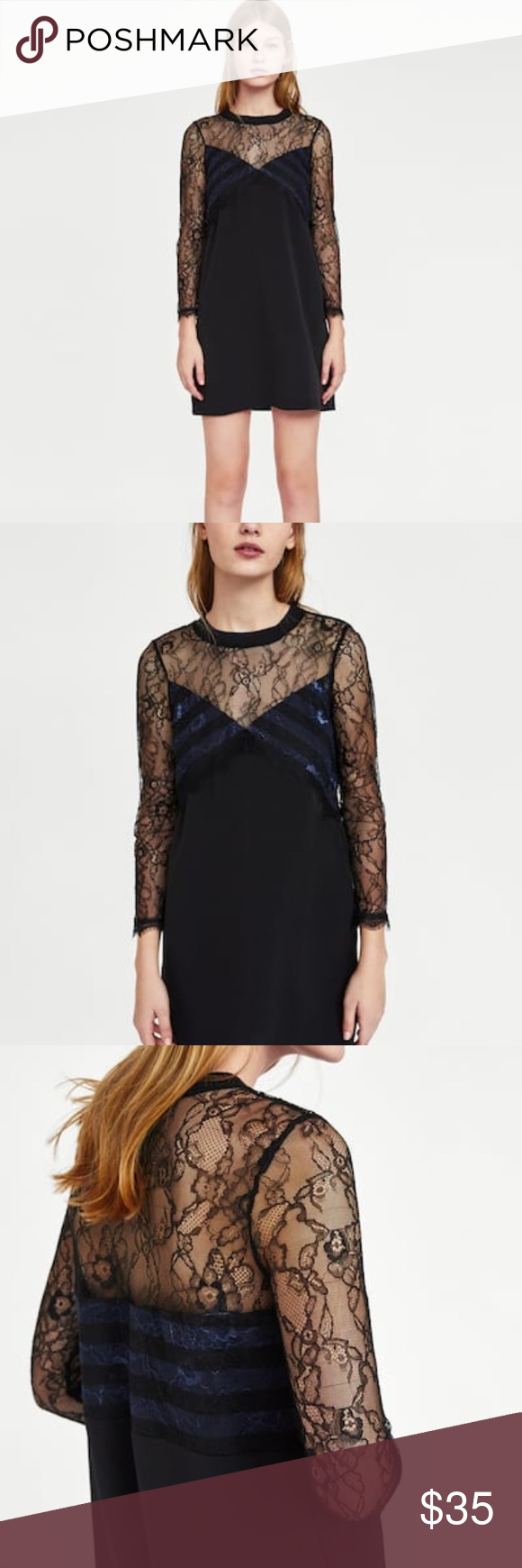 Nwt zara long sleeve a line dress with lace boutique my posh