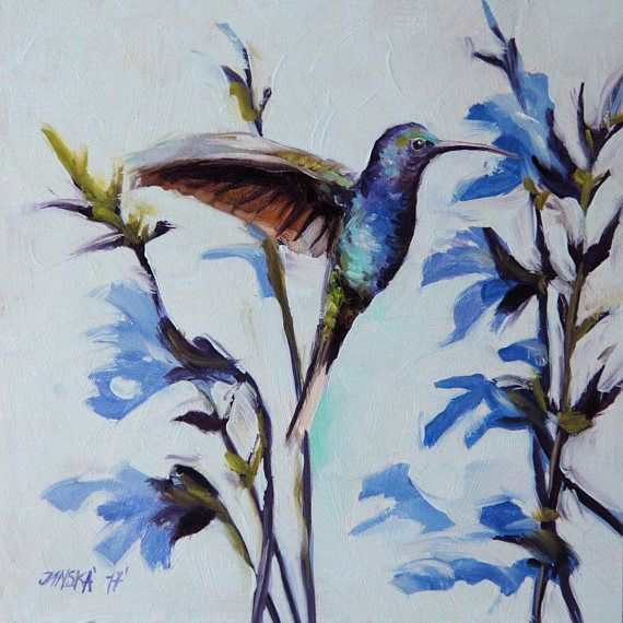Hummingbird Oil Painting Birds Original Art Christmas Gifts Birthday ARTISTS DESCRIPTION On Panel