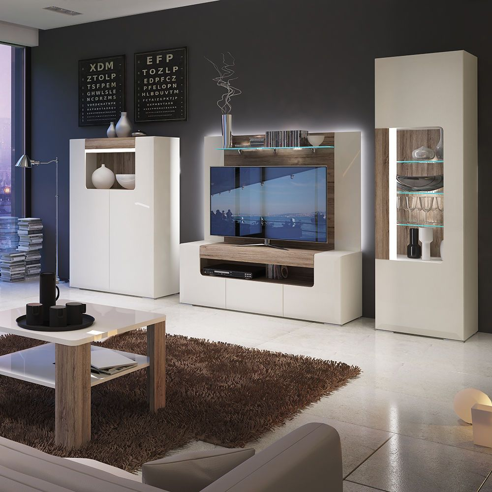 Toronto TV Cabinet Entertainment (led lights in rear panel ...