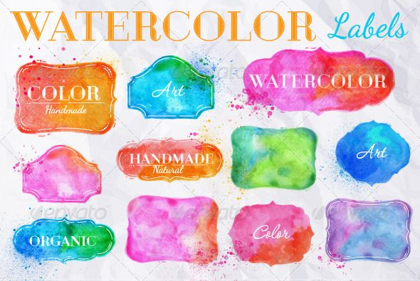 Set Watercolor Labels Design Elements Vintage Frame Handmade
