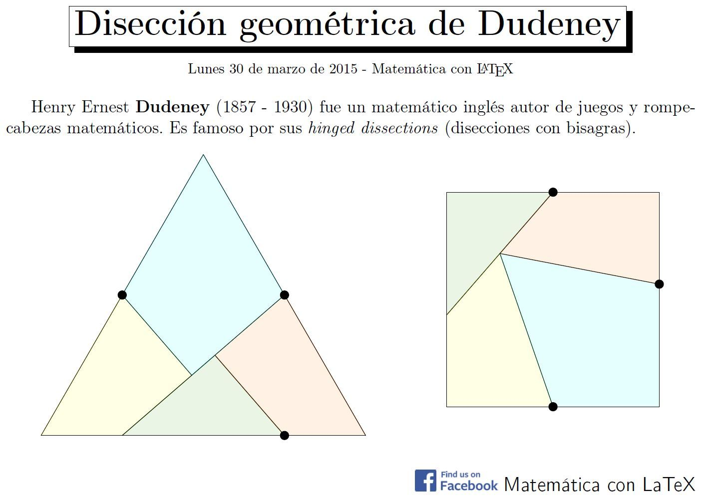 Dudeney S Hinged Dissections Facebook Matematicaconlatex