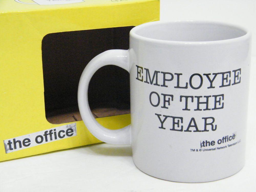 THE OFFICE EMPLOYEE OF THE YEAR COFFEE MUG CUP DUNDER MIFFLIN SCRANTON LOT NIB