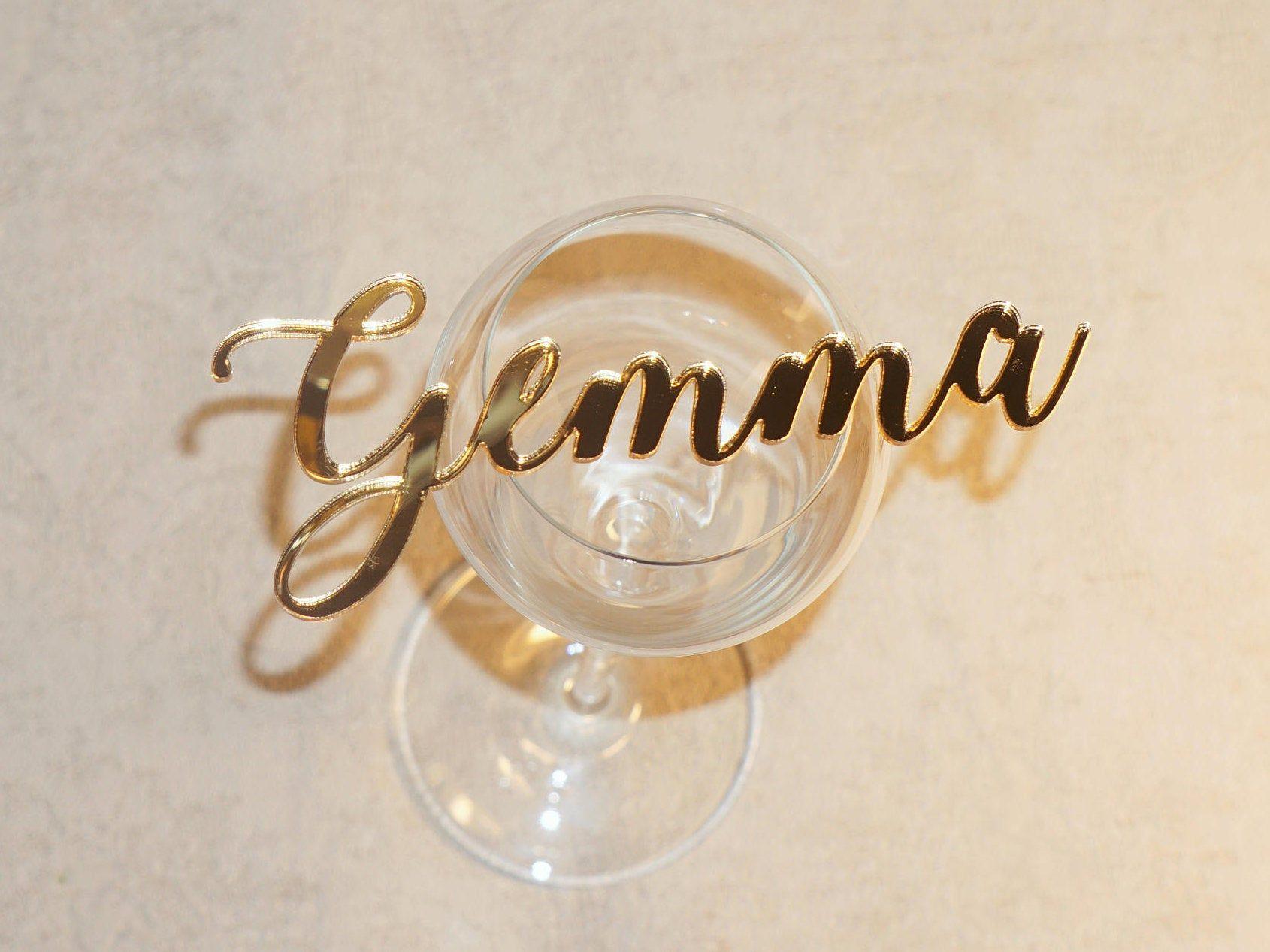 Romantische Hochzeit Tischkarten Gold Acryl Namen Karten Gold
