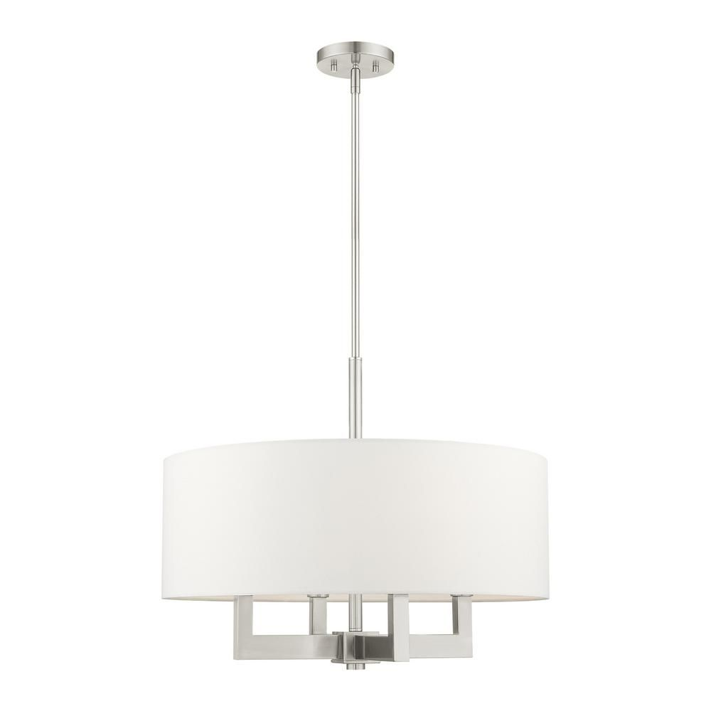 Livex Lighting Cresthaven 4 Light Brushed Nickel Drum Chandelier