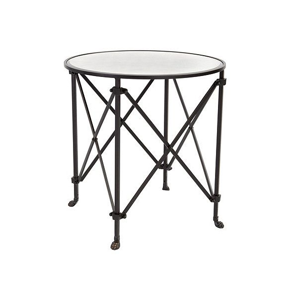 Olivia 30 Round Mirrored Side Table Family Room