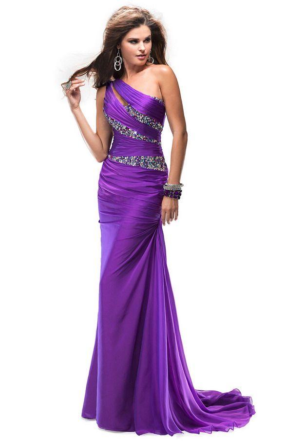 Beaded Flirt P4717 Long Purple Pleated One Shoulder Evening Dress Sale