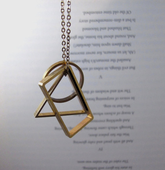 Vertex long geometric necklace with brass triangle circle vertex long geometric necklace with brass triangle circle rectangle pendants aloadofball Gallery