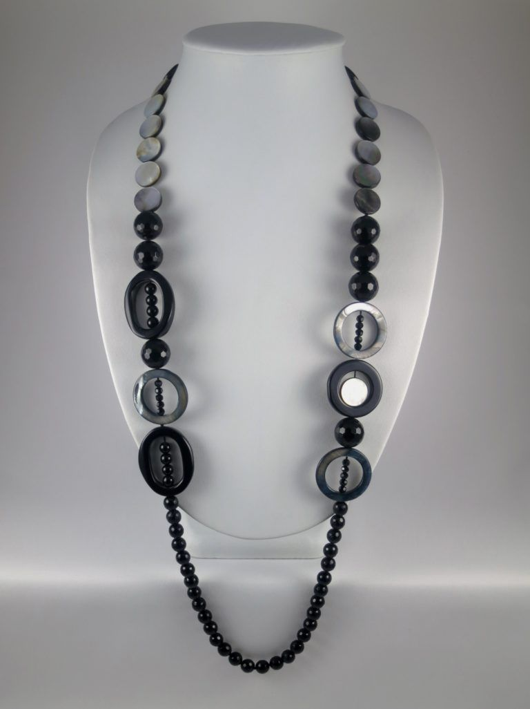 Grey necklace necklace for women ladybug jewellery seed bead necklace beaded jewelry statement jewelry collar necklace gray necklace