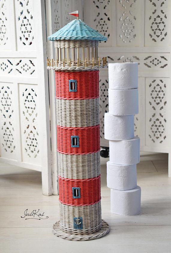 Lighthouse Decor Storage Toilet Paper Figurines Funny Holder Bathroom Organi