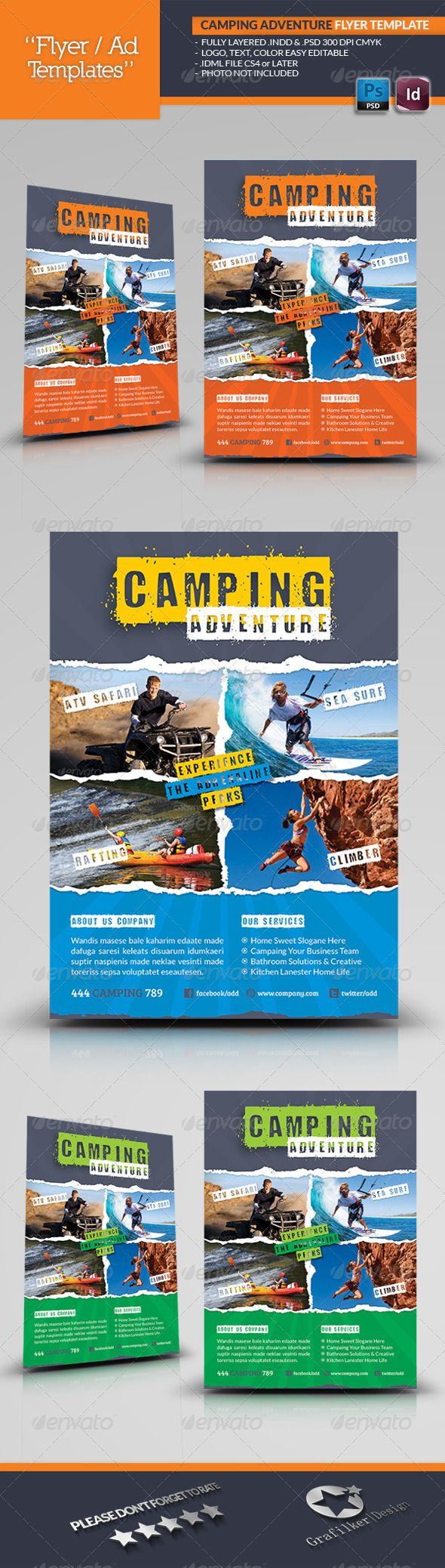 Camping Adventure Flyer Template  Flyer Template Template And
