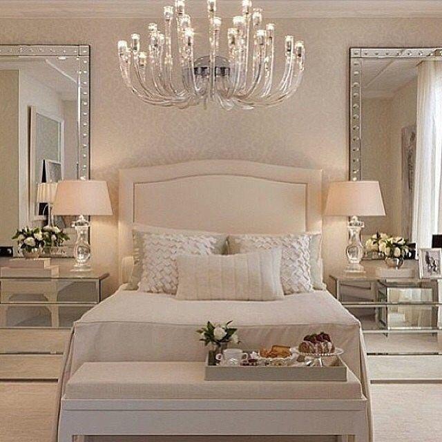 Amazing Luxury Bedroom Furniture Mirrored Night Stands White Headboard:   Luxury  Homes
