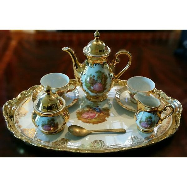 Antique Victorian Porcelain Demitasse Tea Set Bavaria Germany... ($900) ❤ liked on Polyvore featuring home and kitchen & dining