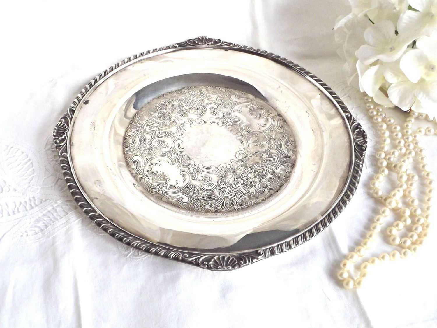 Silver Plated Vanity Tray, Cottage Chic Decor, Silver Tray, Plate