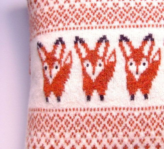 fox pillow cushion knitted pillow cover felted by articleapparel owls foxes pinterest. Black Bedroom Furniture Sets. Home Design Ideas