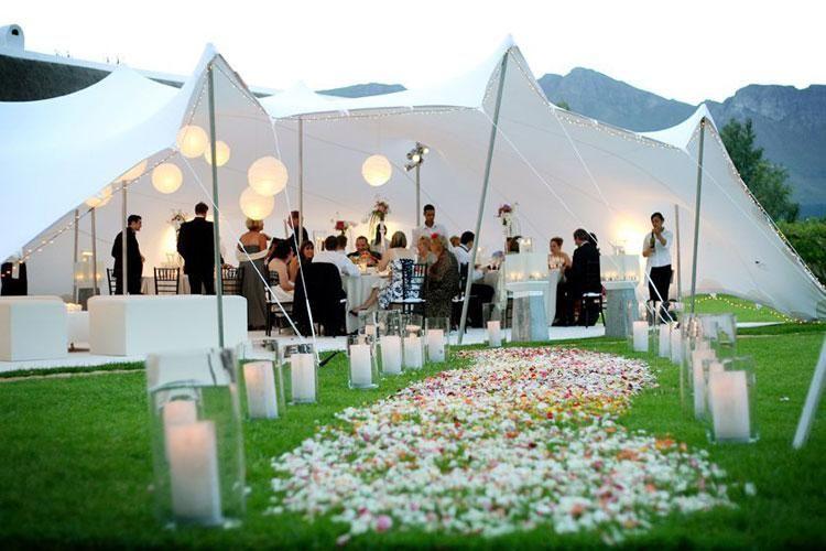 Stretch Tent Wedding White With Petals Wedding Deco