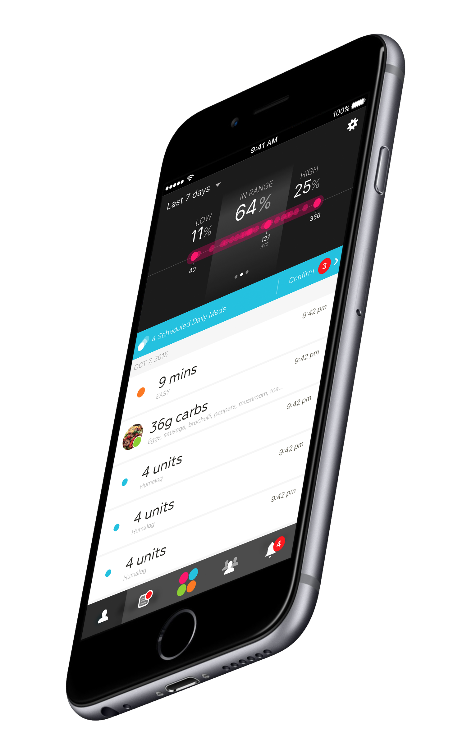 One Drop Diabetes Management App Home Screen With Glucose In