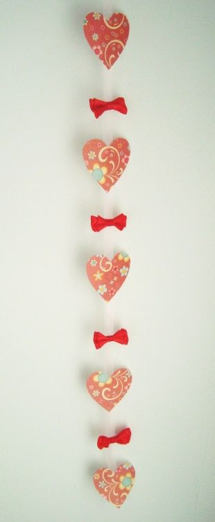 Hanging Heart Garland from scrapbooking paper