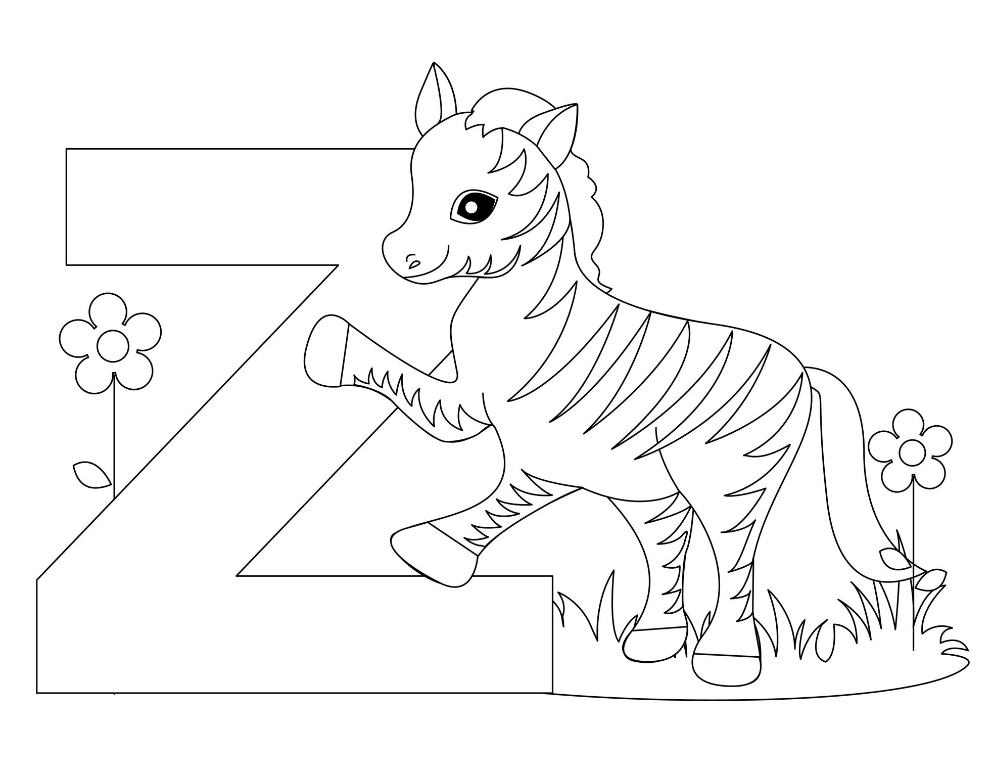 Animal Alphabet Letter Z For Zebra Zebra Coloring Pages