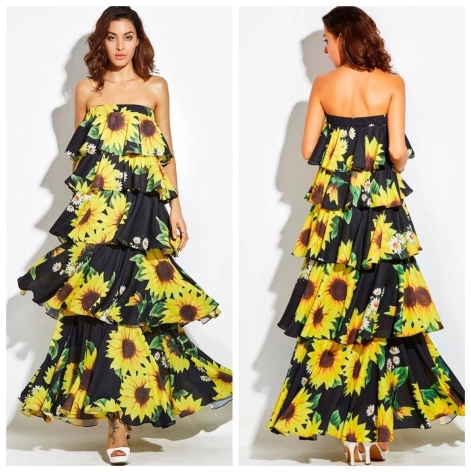 Unbranded Yellow Layered Sunflower Long Casual Maxi Dress Size 6 S Long Dresses Casual Maxi Sundress Dress Dresses [ 960 x 959 Pixel ]