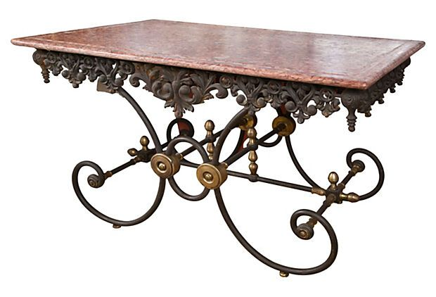 A Beautiful French Pastry Table With A Base Of Iron, And A Top Of Solid  Marble.