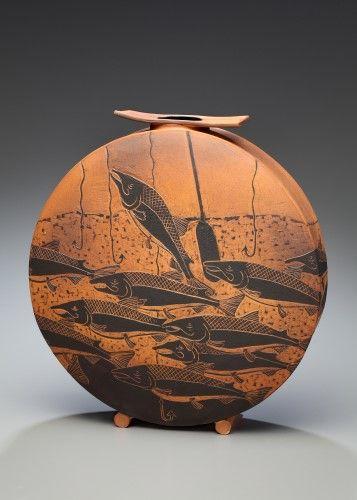Judy Weeden (Canadian) -  Title: Running the Gauntlet, 2010 - Glaze: Slip-carved with terra sigillata wash -  White Stoneware